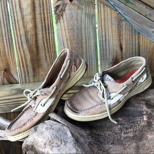 Sperry Top-Siders Tan Leather w Tan & Coral Plaid